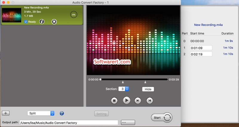 split audio, voice recording, voice memos on mac using audio convert factory