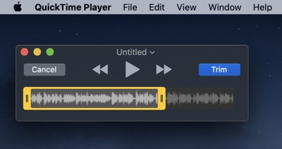 trim audio, voice memos, sound recordings using quicktime player on mac