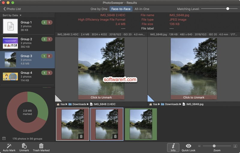 Photosweeper for Mac compare similar photos face to face
