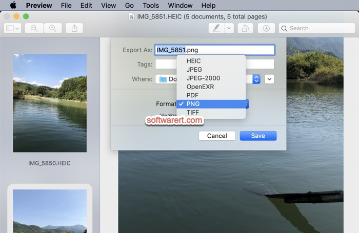 convert heic images to jpeg png tiff using preview on mac