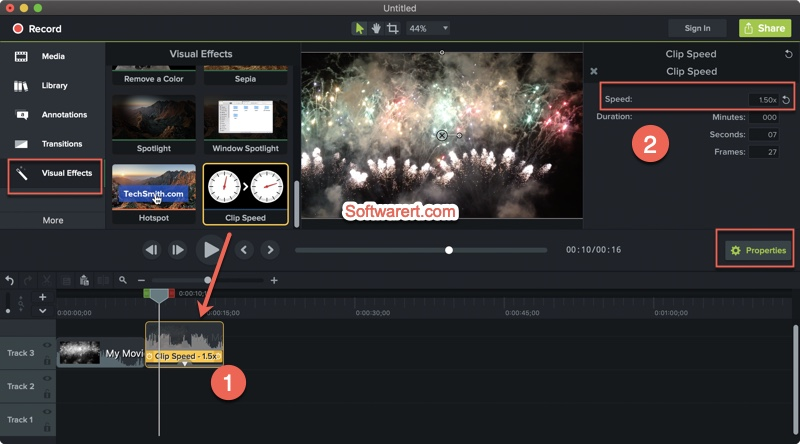 edit video clip speed in camtasia for mac