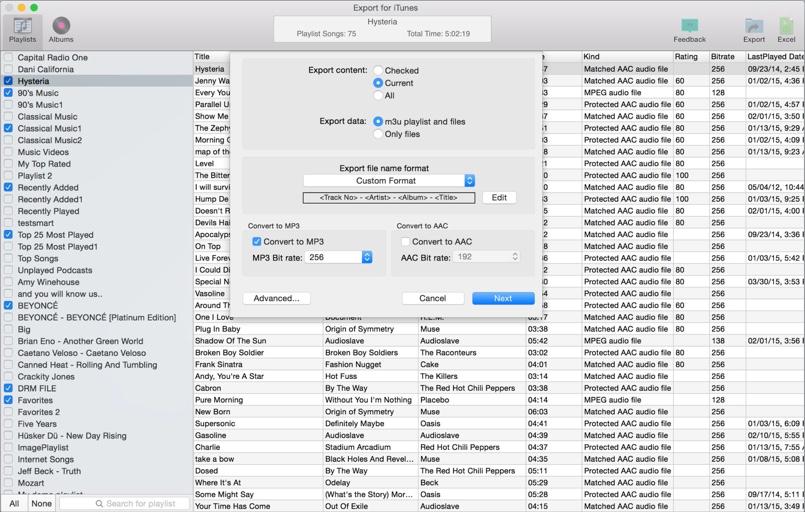 export for itunes mac