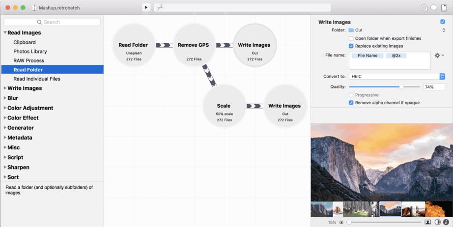 Retrobatch image editor for Mac
