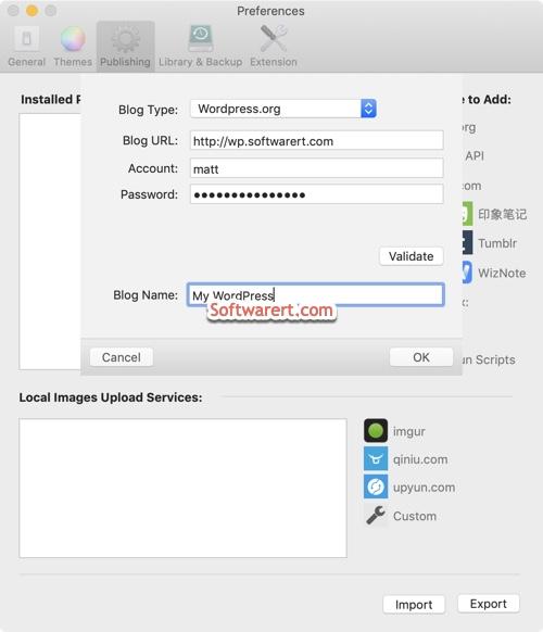 add wordpress to mweb for mac