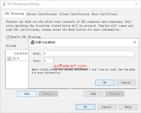 enable ssl proxying for all locations, host, domains in Charles proxy for windows