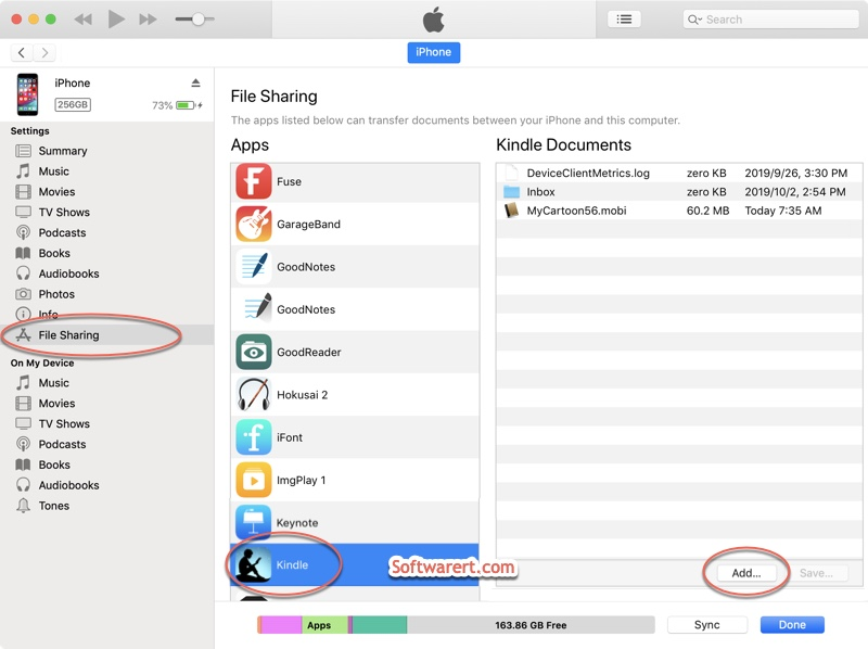 send books from Mac computer to kindle on iPhone using iTunes