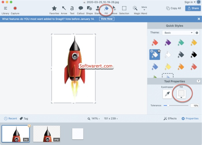 remove image backgroud using transparent fill tool with snagit editor on mac