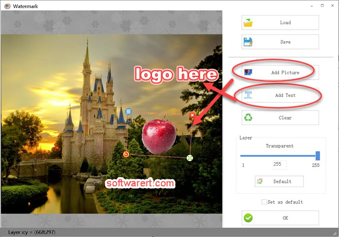 add picture, logo, text as watermark on video using format factory on windows computer