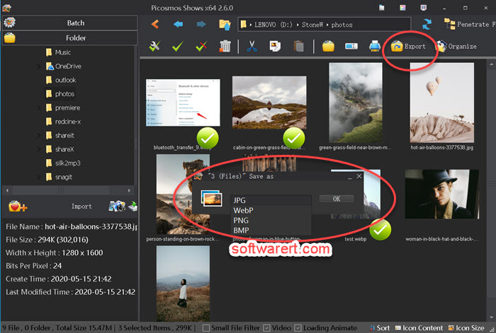 convert images to JPG, PNG, BMP, WEBP format using Picosmos Shows on computer