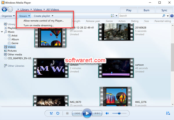 turn on media streaming from windows media player for windows 10