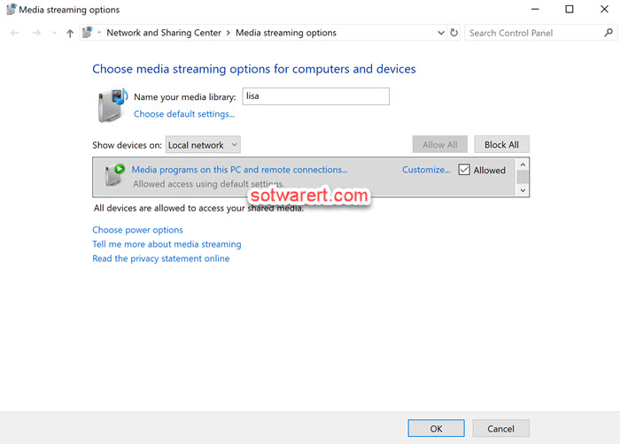 windows 10 computer control panel media streaming options