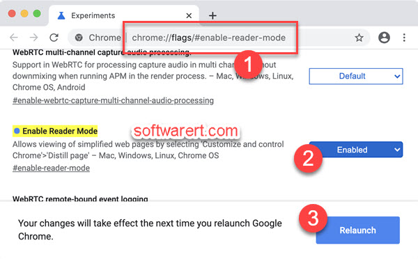Turn on reader mode in Chrome for Mac