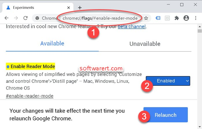 enable reader mode in flags of google chrome web browser on windows computer