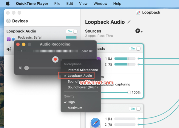 Record internal audio using Loopback and QuickTime player on Mac