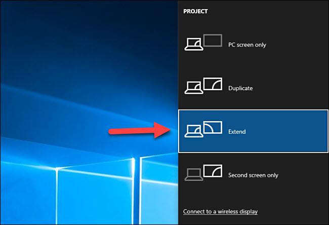 windows 10 project menu - extend display