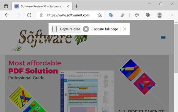 Microsoft Edge browser for Windows web capture