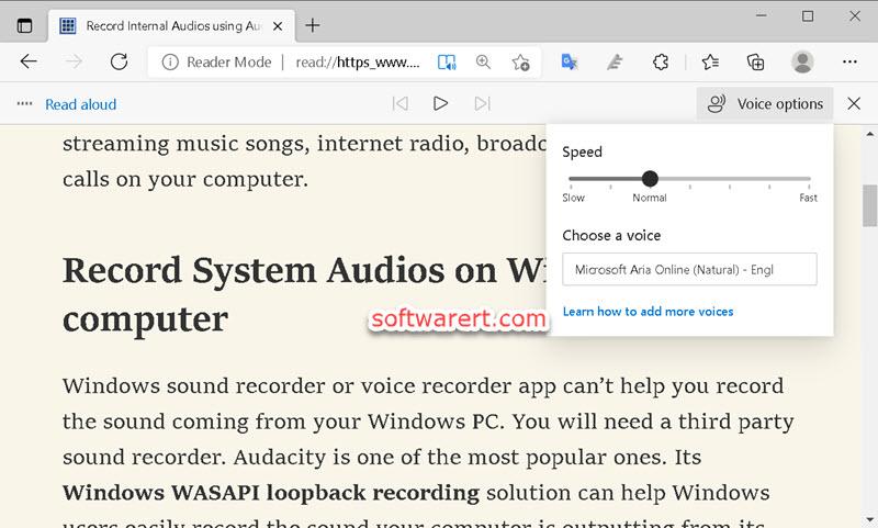 microsoft edge web browser for windows - read aloud settings and control