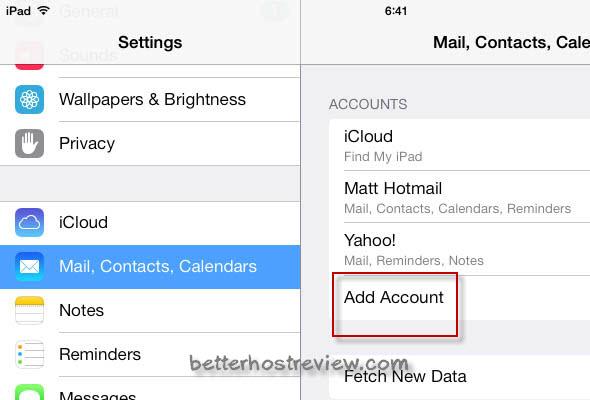 setup new email account on ipad