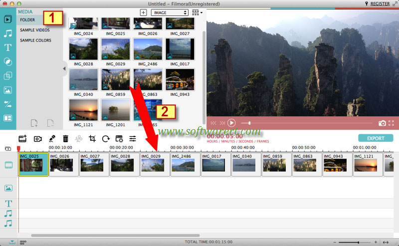 add photos to slideshow movie in filmora on mac