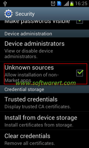allow installation of android apps from unknown sources