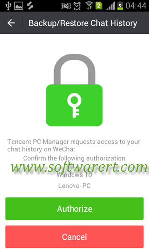 authorize wechat chat history backup to pc from android