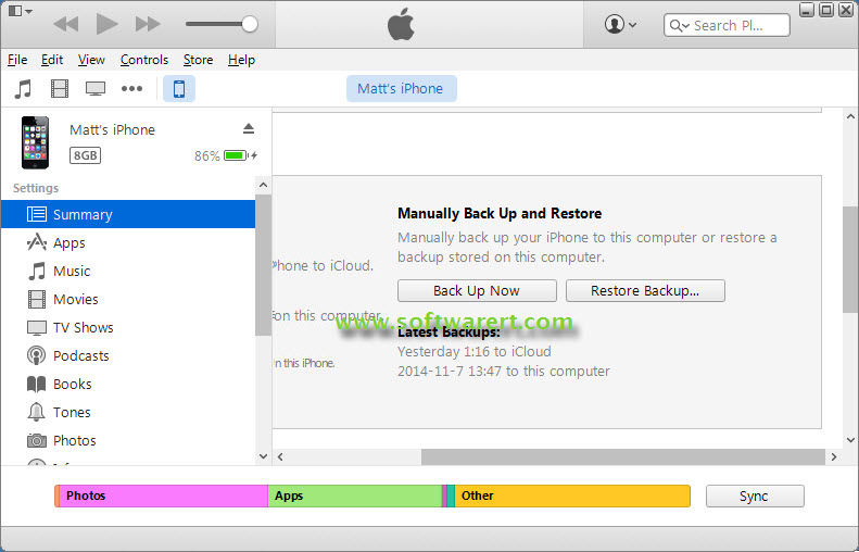 backup and restore iphone in itunes