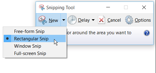 capture screen using snipping tool on windows 10