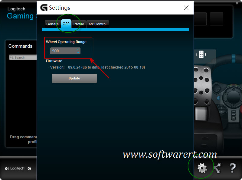 change g29 wheel operating range in logitech gaming software