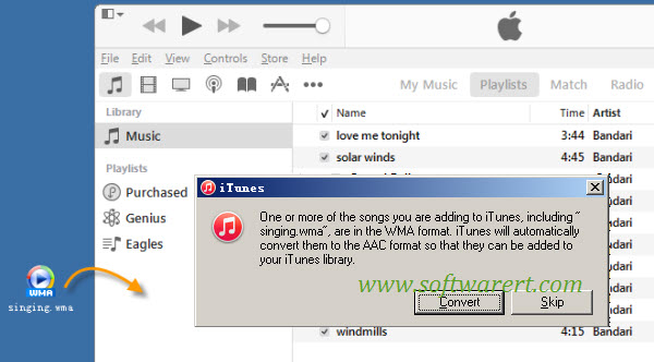 convert wma to aac in itunes