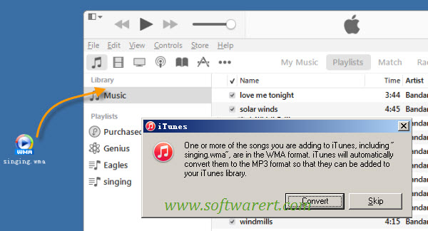 convert wma to mp3 using itunes on PC