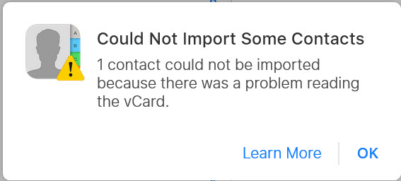 could not import vcard to icloud contacts error