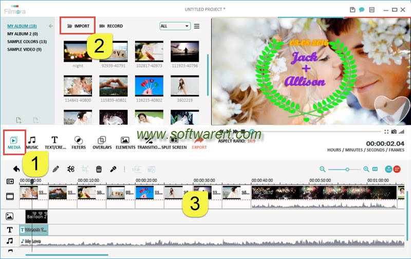 create wedding photo slideshow using filmora