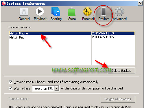 delete iphone ipad itunes backups from computer