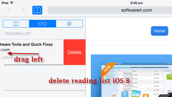 delete reading list on iPad iOS 8, iOS 9