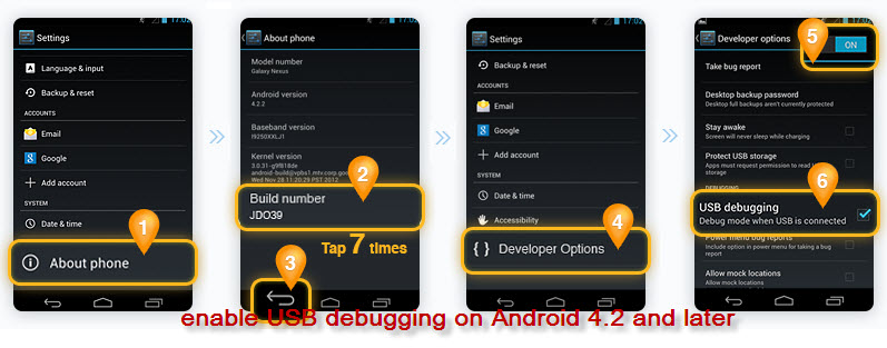 enable USB debugging on Android 4.2 to 5.2