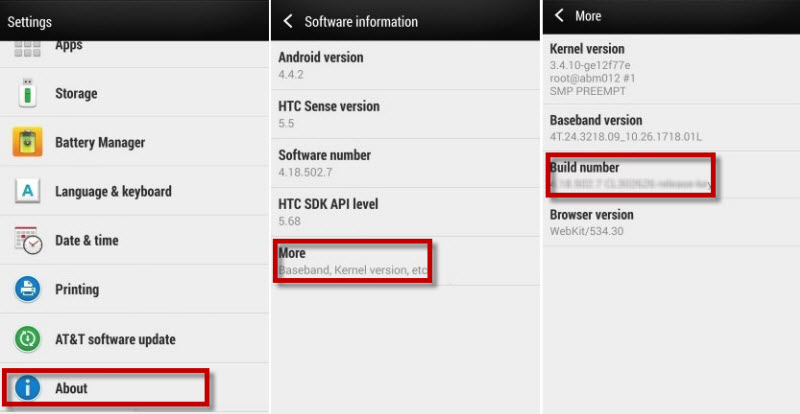 enable developer options on HTC mobile