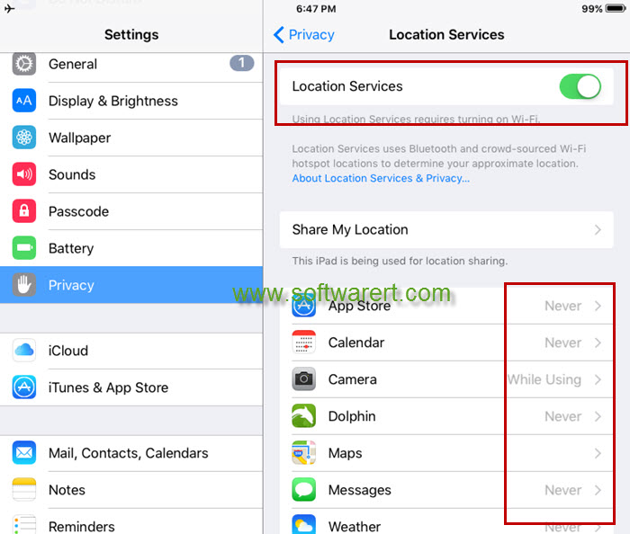 enable or disable GPS location services on ipad