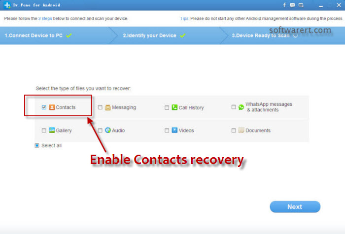 enable samsung contacts recovery