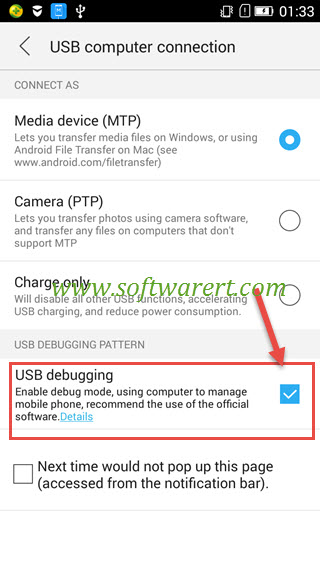 enable usb debugging on lenovo from usb computer connection screen