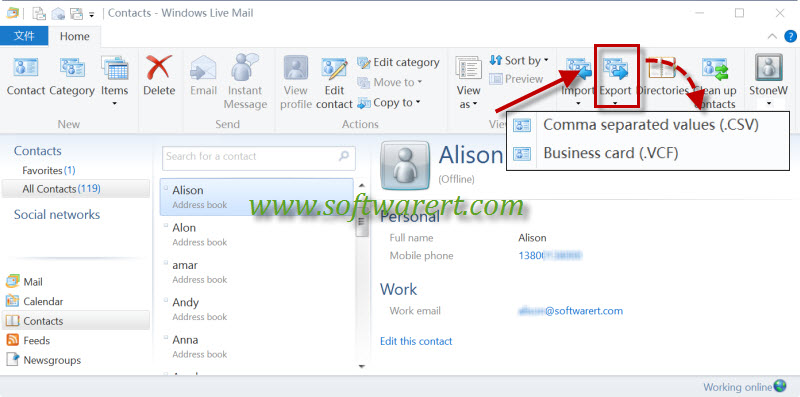 export contacts from windows live mail