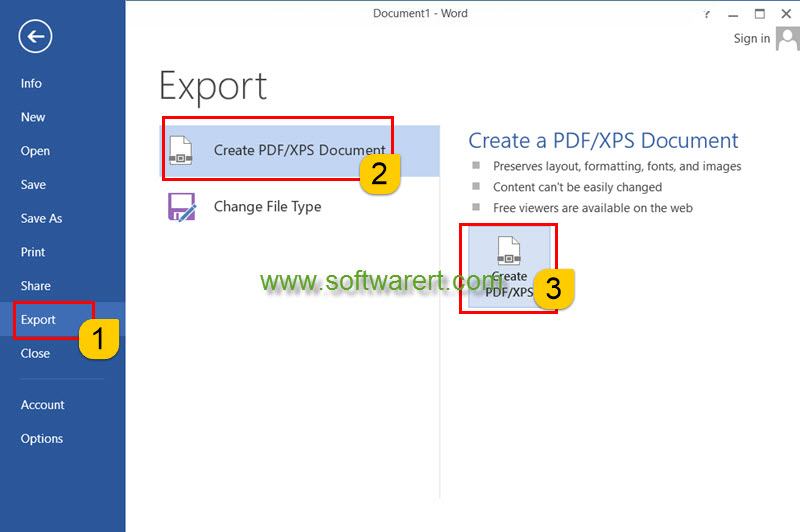 export word as PDF on pc