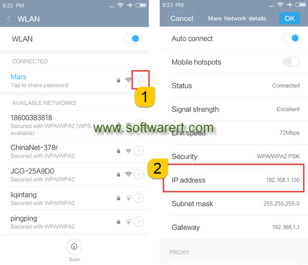 find ip address from network details on xiaomi redmi phone