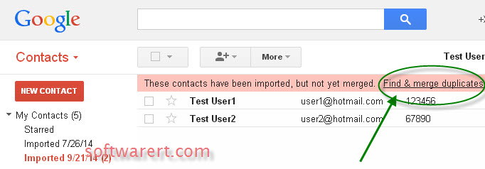 find and merge duplicate contacts in gmail account