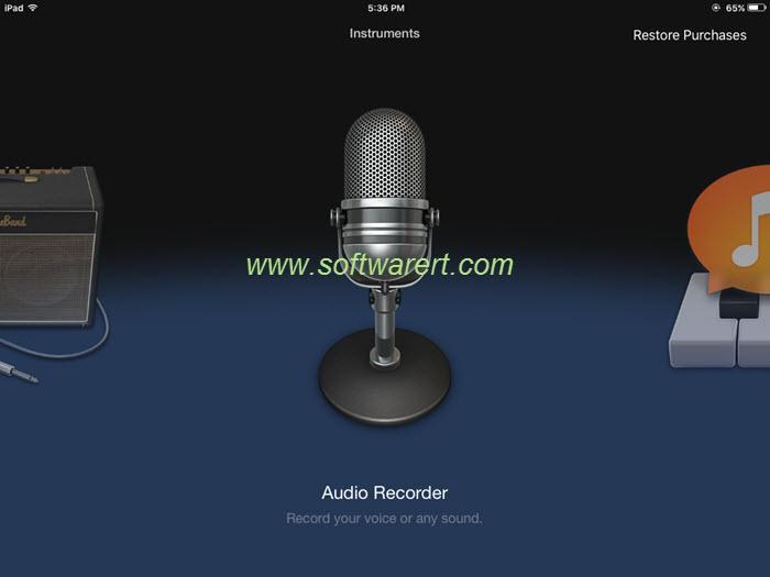 garageband instruments browser - choose audio recorder