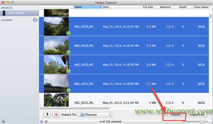 import multiple photos videos from iphone to mac via image capture