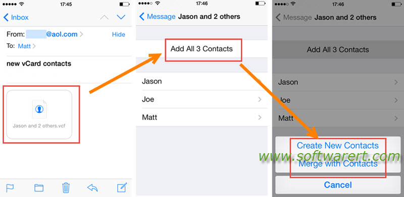 import vcard vcf from email to iphone contacts