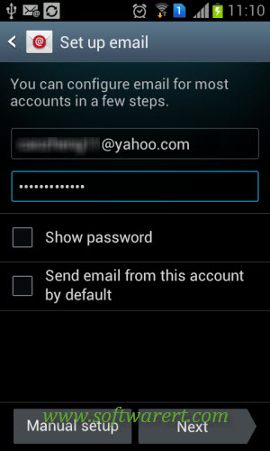 input yahoo email account username password on samsung
