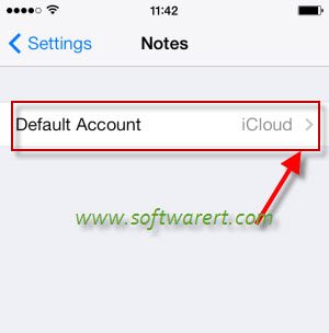 set default account to back up iPhone notes