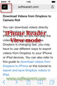 Enable Safari Reader View on iPhone
