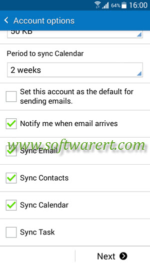 microsoft exchange activesync sync options and settings on samsung galaxy grand prime
